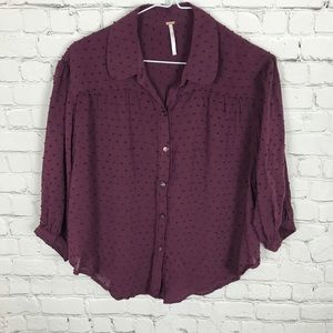 Free People Cropped Button Down Eggplant Purple XS